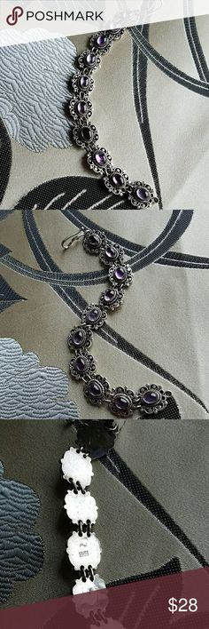 Amethyst and stamped silver bracelet Very pretty bracelets that I've had in my jewelry box for about 20 years I'm not sure if the amethyst is real but it is real sterling silver. Jewelry Bracelets