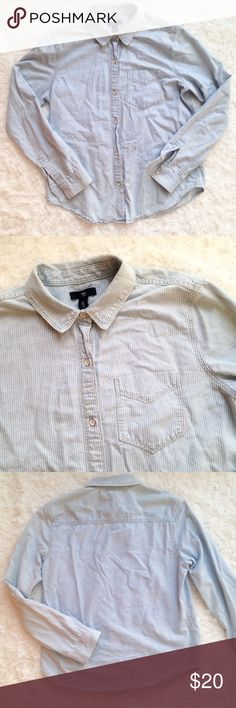 Gap Chambray Denim Stripe Button Down Long Sleeve Denim/chambray fabric. Size M. 100% Cotton. Light blue with vertical stripes. In great condition with no flaws. GAP Tops Button Down Shirts