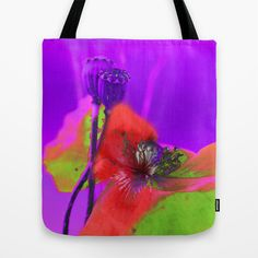 Poppies(radiance). Tote Bag by #MaryBerg - $22.00 #totebags #society6 #women #poppy #purple #red #green #women #abstract