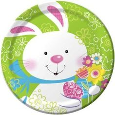 Hoppy Easter Bunny 7-inch Paper Plates 8 Per Pack by Creative Converting. $3.29. Manufactured to the Highest Quality Available.. Design is stylish and innovative. Satisfaction Ensured.. Creative Converting is a leading manufacturer and distributor of disposable tableware including high-fashion paper napkins plates cups and tablecovers in a variety of solid colors and designs appropriate for virtually any event Hoppy Easter, Easter Bunny, Paper Napkins, Paper Plates, Easter Illustration, Party World, Linens And More, Plastic Tablecloth, Disposable Tableware