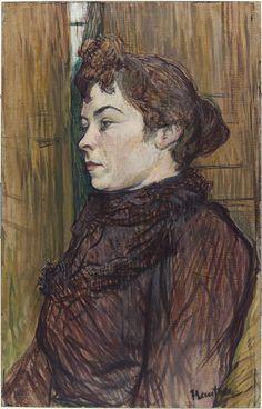 Henri de Toulouse-Lautrec / Augusta / 1890 / Former Title: Portrait / Gouache on… Henri De Toulouse Lautrec, Gustav Klimt, Renoir, Amédéo Modigliani, Harvard Art Museum, Pastel Portraits, Famous Art, Art Moderne, French Art