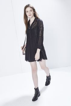 Rock Dress - Tonal lace panels add textural dimension to this delicate dress. With day-to-night versatility, this runway style features ultra-femme appeal with a defined waist, long sleeves and front button closures.  Please note this item is on preorder and will be available to ship on or before September 18th, 2015