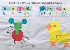Atividade de colagem com formas geométricas diversas, trabalhando ainda a escrita de palavras. School, Children, Geometric Fashion, Bonding Activities, Inclusive Education, Activities For Kids, Eggs, Young Children, Boys