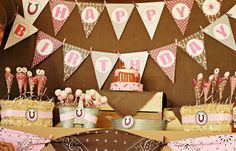 Pink and Brown Horse theme party - love the pink and brown bandanas everywhere!!
