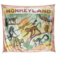 Ringling Brothers Monkeyland Circus Banner,   American, 1949. Created by the O'Henry Tent and Awning Co.