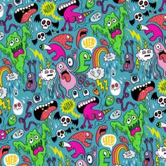 Monster Party Pattern Prints and more available through / Daily Drawing / Support this daily drawing project on Patreon! Art Prints, Illustration, Drawings, Doodle Art, Monster, Art, Monsters Vs Aliens, Drawing Projects, Daily Drawing