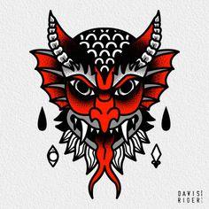 traditional devil tattoo....sorta getting close (for knee)