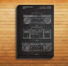 CANVAS - Boombox Patent, Boombox Poster, Boombox Print, Boombox Art, Boombox Decor, Boombox Blueprint, Vintage Boombox Art, Boombox Design by STANLEYprintHOUSE  34.99 USD  We use a specially manufactured cotton blend canvas for archival printing, and high end printers to produce a stunning quality canvas that's made to last.  The printing technology used for the canvas is eco-solvent.  Our art is guaranteed to turn heads and will make a great affordab ..  https://www.etsy.com/ca/li..
