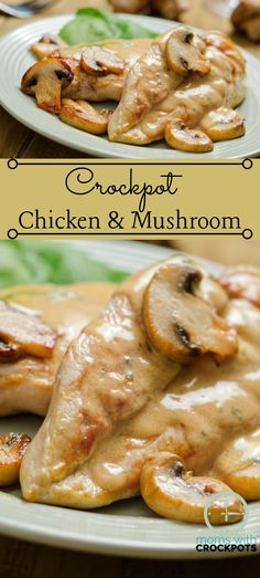 A flavorful dinner option! This Crockpot Chicken & Mushrooms Recipe is dairy fre… A flavorful dinner option! This Crockpot Chicken & Mushrooms Recipe is dairy free, gluten free and perfect for diets like Whole 30 & 21 Day Fix! Crockpot Mushrooms, Chicken Mushroom Recipes, Chicken Mushrooms, Stuffed Mushrooms, Mushrooms Recipes, Shrimp Mushroom, Mushroom Risotto, Healthy Crockpot Recipes, Slow Cooker Recipes