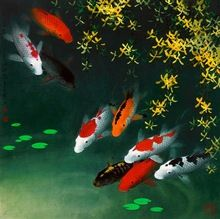 Modern sitting wall decor print Animal oil painting Feng Shui Fish Koi Painting Art on canvas Home wall art picture,jhgh387(China (Mainland))