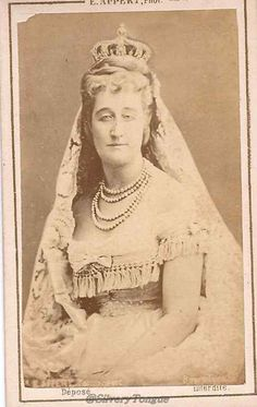 Empress Eugenie of France with crown and veil.