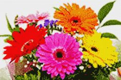Stitch App, Cross Stitch Games, Cross Stitch Pictures, Paint By Number, Cross Stitch Flowers, Make It Simple, Diy And Crafts, Daisy, Bouquet