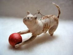 Antique Early 1900's German Spun Cotton Kitty Cat w Red Ball Christmas Ornament   eBay
