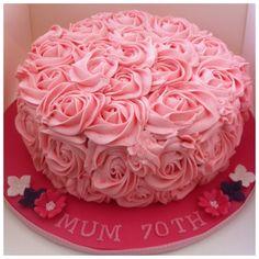 70th birthday cake with rose swirls