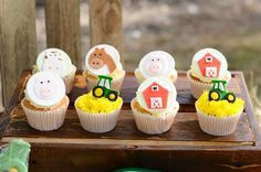 Cute cupcakes at a John Deere Farm themed birthday party via Kara's Party Ideas KarasPartyIdeas.com #johndeere #farmparty #johndeereparty #boypartyideas #cupcakes