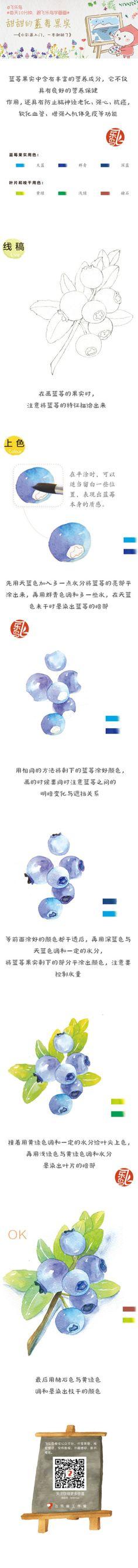 #每天10分钟,跟飞乐鸟学画画# 好吃的蓝莓果子来啦,可爱的水果用水彩会出来什么样的效果呢,期待同学们的作品哦!
