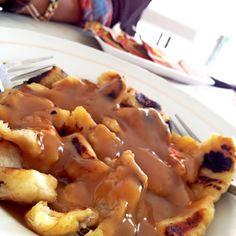 "traditional snacks ""Pisang Gapit"" , roasted banana with sugar sauce."