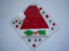 Fused Glass Santa Hat Christmas Ornament - Suncatcher