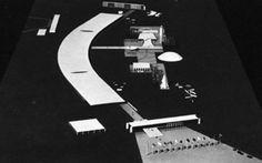 Oscar Niemeyer, Permanent International Fair, Tripoli, photographs of model and preliminary sketch Oscar Niemeyer, Photographs, Sketch, Architecture, Model, Sketch Drawing, Photos, Fotografie, Sketches