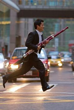 Didn't anyone ever tell him not to run with weapons. For a full day of Bassoon music, listen to Exploring Music's week on Wind Quintets at Exploringmusic.org.