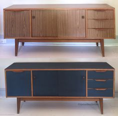 Before and after retro sideboard, chalk paint, navy sideboard - Home & DIY Refurbished Furniture, Paint Furniture, Repurposed Furniture, Furniture Projects, Vintage Furniture, Home Furniture, Furniture Design, Retro Furniture Makeover, Console Furniture