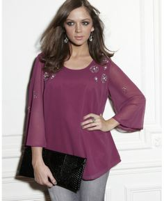 """""""And Abigail"""" And Abigail Bead Trim Blouse at Simply Be"""