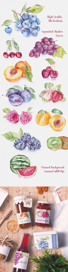 Fruit Watercolor Illustrations- lo descargas y aplicas en tus cosas como quieras..