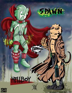 "Los Chinos ""Spawn & Hellboy"""