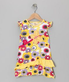 Take a look at this Yellow Blossom Butterfly Dress - Toddler & Girls by Cheeky Smyle on #zulily today!