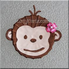 Pink Mod Monkey Hair Clip Hair Bow by www.GirlyKurlz.com ❤️