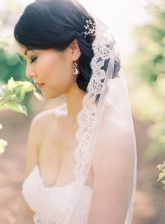 Lace trim bridal veil,lace trim cathedral wedding veil
