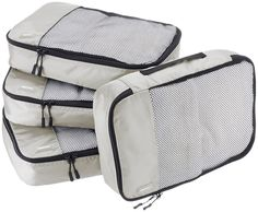 AmazonBasics 4-Piece Packing Cube Set - Medium, Gray. Double zipper pulls make opening/closing simple and fast. Mesh top panel for easy identification of contents, and ventilation. Soft mesh won't damage delicate fabrics. Webbing handle for convenience when carried by itself. Medium cube dimensions: 13.75 x 9.75 x 3 inches. Made of high-quality fabric with finished interior seams to increase durability.