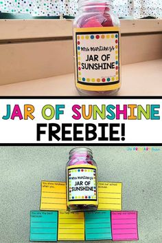 This Jar of Sunshine is the perfect teacher or administrator gift. It is filled with notes about how our teachers or administrators help us, help our school, show kindness, and other fun topics! Create this gift to bring a little kindness into someone's day! #teachergift