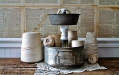 Antique Cake Pans Tiered Stand (+ several more repurposed tiered stands)  ~~created by Knick of Time