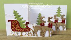 Stampin' Up! Santa's Sleigh Bundle, Christmas Card, Double Z Fold Card by Kathryn Mangelsdorf