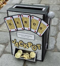 Planning a Las Vegas birthday party? Order a custom handmade jackpot card box designed to look like a slot machine to hold cards at your celebration. This card box measures approximately 9 Casino Party Decorations, Casino Theme Parties, Party Themes, Casino Night Party, Themed Parties, Casino Themed Centerpieces, Casino Party Games, Party Ideas, 50th Anniversary Gifts