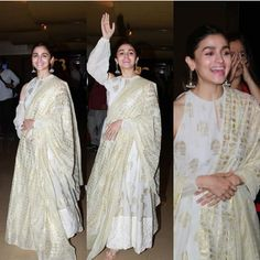No Fathers in Kashmir : The Stylish Mother - Daughter Alia Bhatt and Soni Razdan Lighten Up The Special Screening - HungryBoo White Anarkali, Anarkali Dress, Anarkali Suits, Pakistani Dresses, Indian Dresses, Indian Outfits, Lehenga, Indian Look, Dress Indian Style