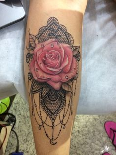 Mandala rose tattoo 💗➰ discovered by MonCheri Neue Tattoos, Body Art Tattoos, Sleeve Tattoos, Tatoos, Rose Tattoo Sleeves, Tattoo Lace, Lace Tattoo Design, Rose Sleeve, Hand Tattoo