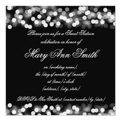 #Sweet Sixteen Party Shimmering Silver Lights Card - #sweet16 #invitations #sixteen #birthday #sweetsixteen #party #bday #birthdayparty