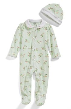 Free shipping and returns on Little Me 'Rose Spray' One-Piece & Hat (Baby Girls) at Nordstrom.com. Pretty floral print and dainty embroidered trim charm a cozy cotton one-piece paired with a matching hat.