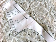 Pattern Piece Laying on Lace Fabric