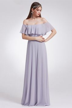 37c39688748f Sexy Off The Shoulder Side Slit Ruched Lavender Chiffon A Line Prom Evening  Dress