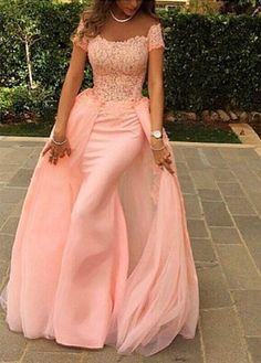 $169-Pink Lace Short Sleeves Prom Dresses Off Shoulder Removable Train Evening Gowns
