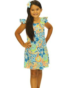 Check out the deal on Rayon Little Girls Sundress Retro 70's Islander at Shaka Time Hawaii Clothing Store FREE SHIPPING from HAWAII #hawaiiandresses #girlsdresses #hawaiianwear #tropicaldresses