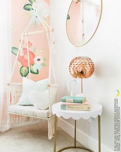 Hammocks, Hanging Chairs, Baby Swings and Doll Furniture in Macramé for your nursery room, home and garden. Macrame Hanging Chair, Hanging Chairs, Kids Hanging Chair, Girls Bedroom, Bedroom Decor, Bedrooms, Bedroom Reading Nooks, Girls Reading Nook, Floral Bedroom