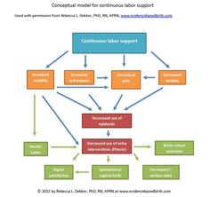 Flow chart of the benefits of having birth support in the form of a doula.