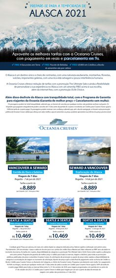 Aproveite as melhores tarifas com a Oceania Cruises com pagamento em reais e parcelamento em 09x. Luxury Cruises, Alaska, Viajes, Destinations