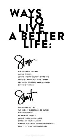 Ways to live a better life