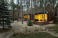 Over in the Poltava region of Ukraine, a cluster of modern cabins by local studio YOD Design Lab have been erected in a pine forest, the site of a retreat complex called Relax Park Verholy. Architecture Design, Sustainable Architecture, Forest House, Forest Floor, Pine Forest, Cabins In The Woods, Design Lab, Pop Design, Sketch Design