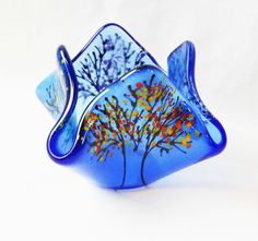 Fused Glass Tree of Life Holder! Each piece is hand drawn using liquid glass! Great holder for pens/pencils, candles, utensils, and much more... coppermstudio.com